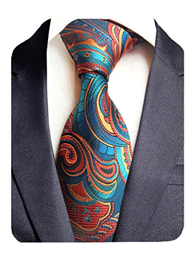 GUSLESON Mens Floral Tie Fashion Necktie for Wedding Party (0694-05)