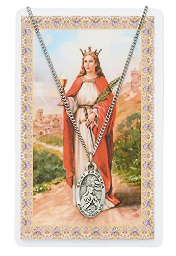 St. Barbara 7/8-inch Pewter Medal Pendant Necklace with Holy Prayer Card