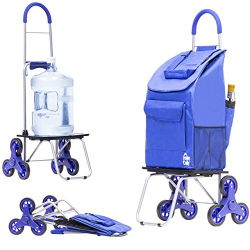 dbest products Stair Climber Bigger Trolley Dolly, Blue Shopping Grocery...