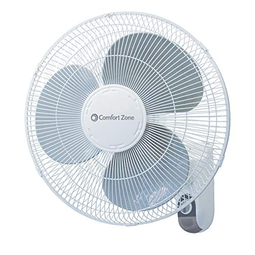 Comfort Zone CZ16W Oscillating 16-inch 3-Speed Wall-Mount Fan White with...