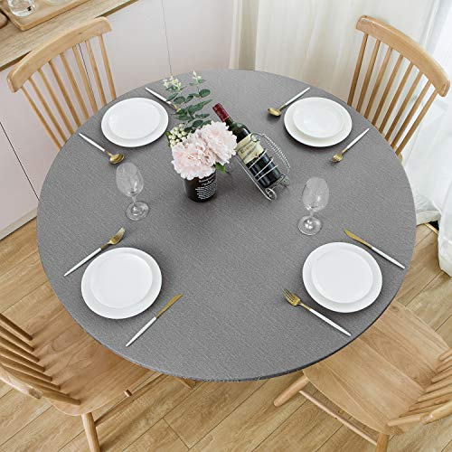 NLMUVW Round Fitted Vinyl Tablecloth with Elastic Edge 100% Waterproof Oil...