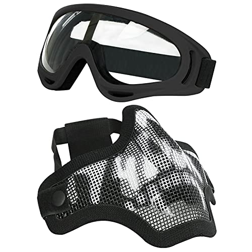 AOUTACC Airsoft Half Face Mask Steel Mesh and Goggles Set, Skull Tactical...