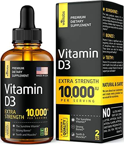 Vitamin D3 Drops - Extra Strength Vitamin D3 10000 IU - Made in The USA -...