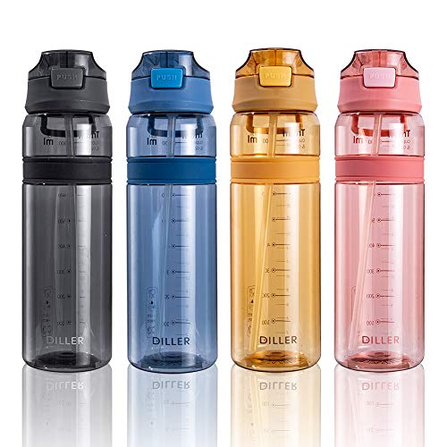 Diller Water Bottle with Straw, 28 oz BPA Free Plastic Water Bottle with...