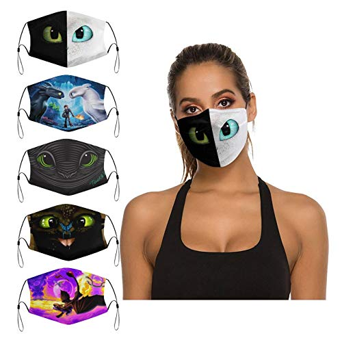 Hetano 5PCS Face Cover Mask with 10 Filter Reusable Adjustable Washables...