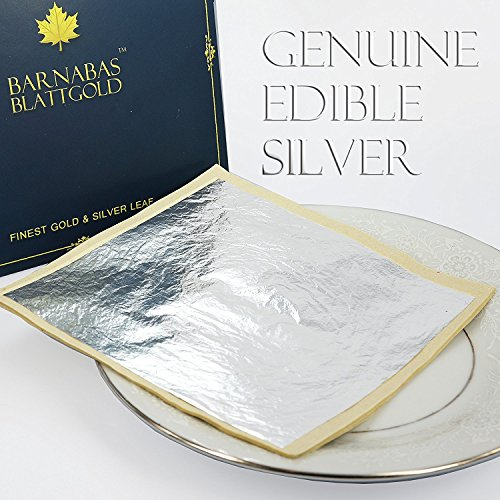 Edible Genuine Silver Leaf Sheets - by Barnabas Blattgold - Large 4.4...