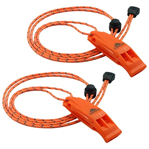 LuxoGear Emergency Whistles with Lanyard Safety Whistle Survival Shrill...
