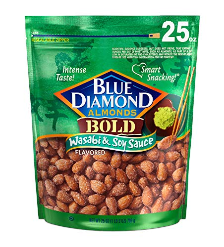 Blue Diamond Almonds Wasabi & Soy Sauce Flavored Snack Nuts, 25 Oz...