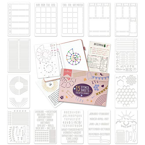 Ultimate Productivity Stencil Set for Dotted Journals - Time Saving Planner...