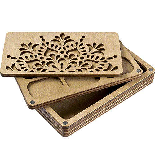 Wooden Storage Box with Sorting Tray and Magnetic Lid, Bead Organizer,...