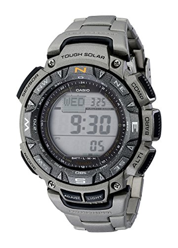 Casio Men's PAG240T-7CR Pathfinder Triple-Sensor Stainless Steel Watch with...