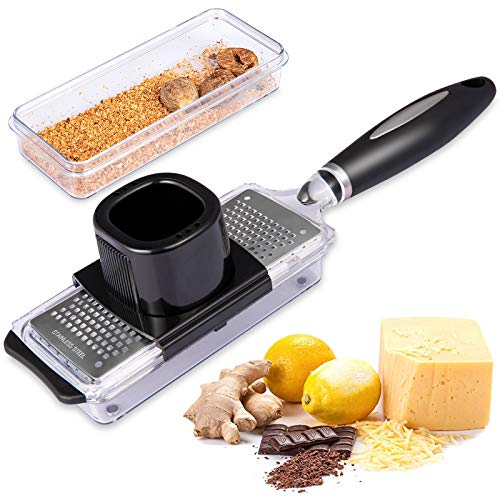 Ginger Grater Cheese Grater Lemon Zester with Storage Container, Premium...