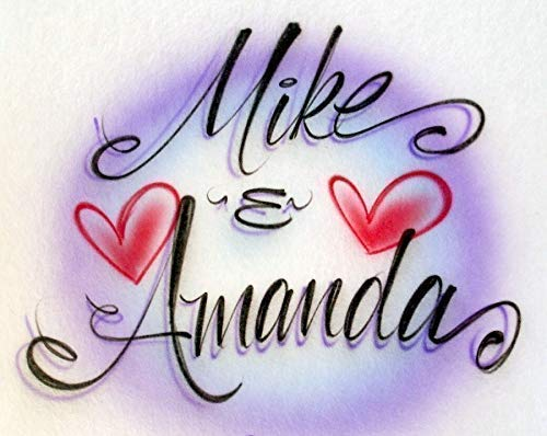 Custom Airbrush T-Shirt Love Letters for Couple with Hearts - Anniversary...
