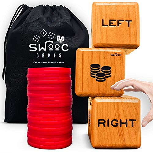 SWOOC Games - Giant Right Center Left Dice Game (All Weather) with 24 Large...