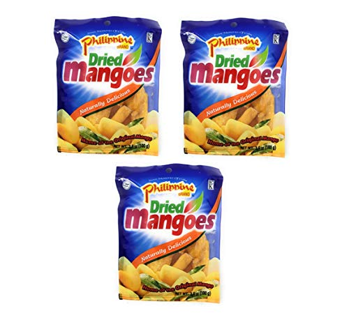 Philippine Dried Mangoes Naturally Delicious (3 Pack, Total of 10.5oz)