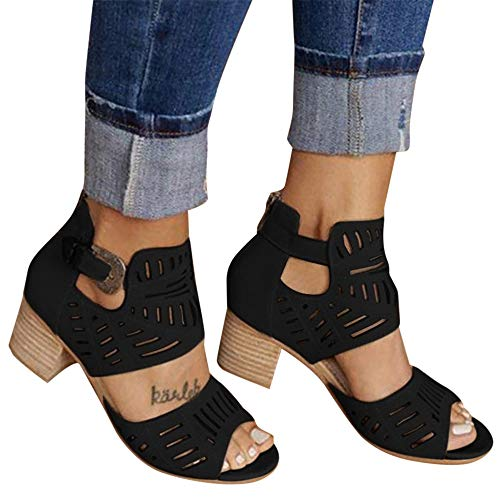 Aniywn New Sandals Women's Peep Toe Cut Out Chunky Stacked Block Heel Ankle...
