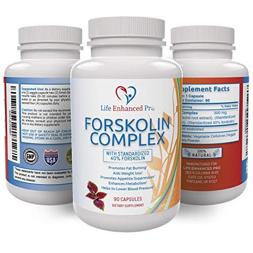 100% Pure Forskolin Extract 300MG – 40% Standardized for Weight Loss,...