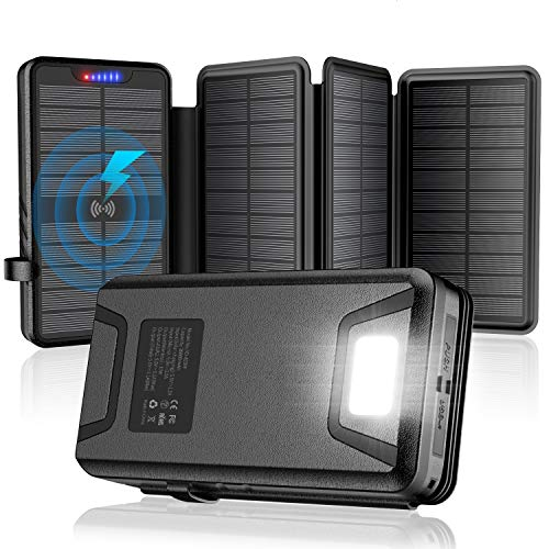 Solar Charger 30000mAh Solar Power Bank with Dual 3.1A Outputs Wireless...