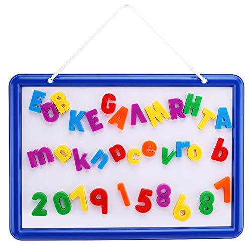 Kid's Dry Erase Board and Magnet Set – 109 Piece Magnetic Letters,...