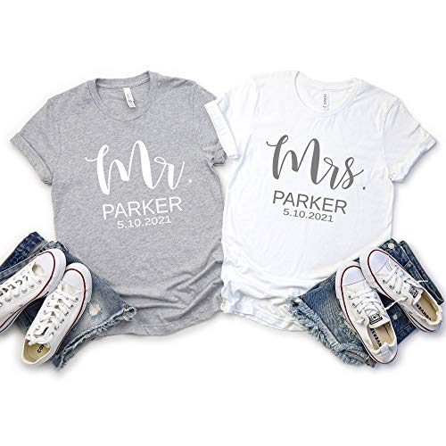Mr and Mrs Couples Custom T Shirts, Just Married His and Hers Engagement,...