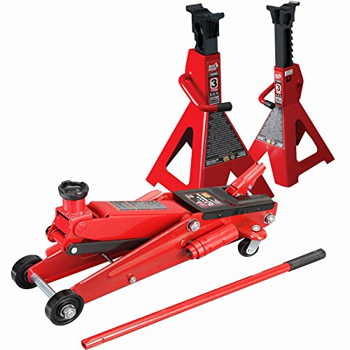 SUV 3 Ton Floor Jack with 3 Ton Jack Stands Heavy Duty Set Large SUV Truck...