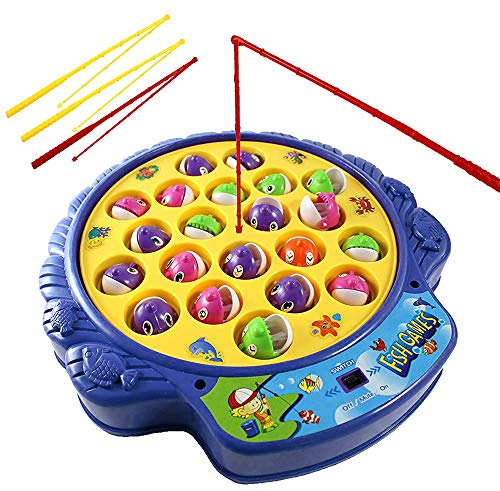 Haktoys Fishing Game Toy Set with Rotating Board | Now with Music On/Off...