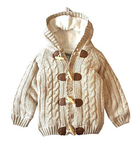 Miccina Baby Toddler Boys Girls Hooded Cable Knit Cardigan Sweater Cotton...