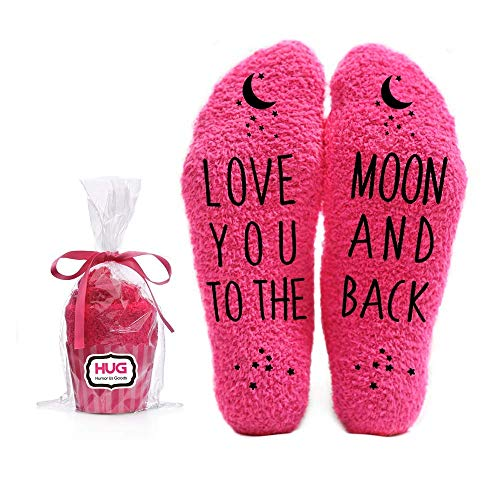 Love You to the Moon and Back Funny Socks - Cool Pink Fuzzy Novelty Cupcake...