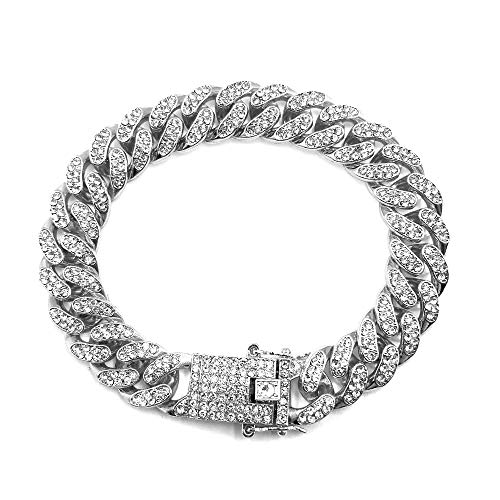 HUAMING Apzzic 12mm Gold Plated Hip Hop Iced Out CZ Lab Diamond Miami Cuban...