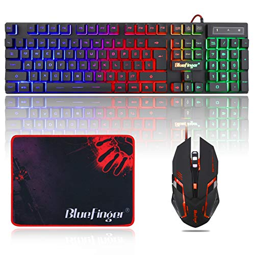 BlueFinger RGB Gaming Keyboard and Backlit Mouse Combo, USB Wired Backlit...