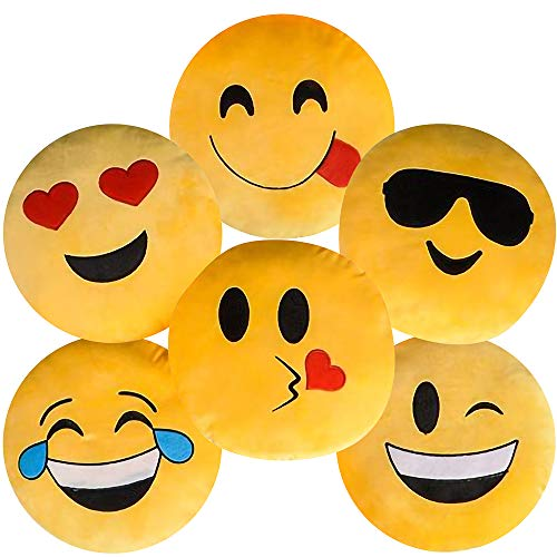 ArtCreativity Assorted Round Emoji Pillows - Pack of 6 - Yellow Smile Face...