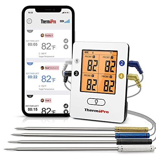 ThermoPro TP25 500ft Wireless Bluetooth Meat Thermometer with 4 Temperature...