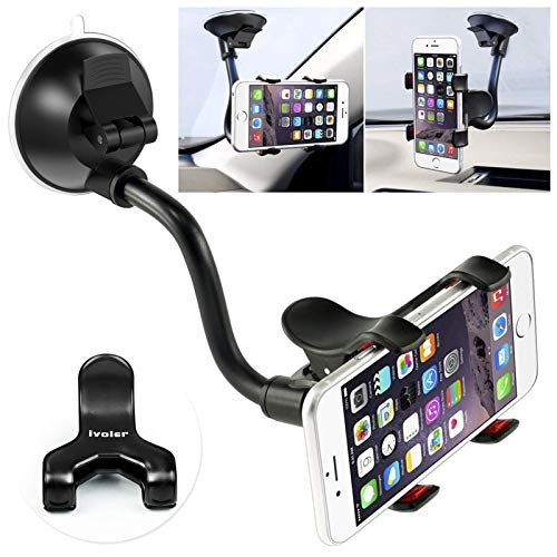 Car Phone Mount Windshield, Long Arm Clamp iVoler Universal Windshield with...