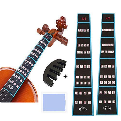2 Sheets Violin Finger Guide and Rubber Mute Pack, 4/4 Violin Notes Sticker...