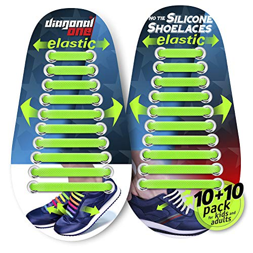 Diagonal One No Tie Shoelaces for Kids and Adults - Elastic Silicone Laces...