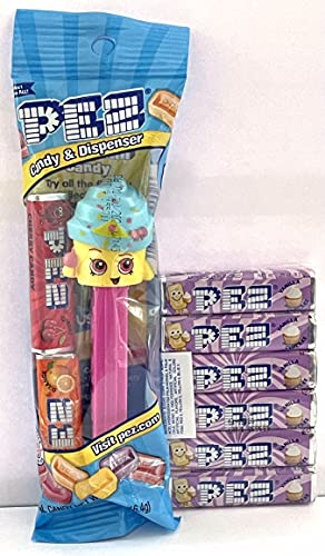 Cupcake Queen SHOPKINS Pez Dispenser in Cello Bag with 2 Rolls of Candy + 6...