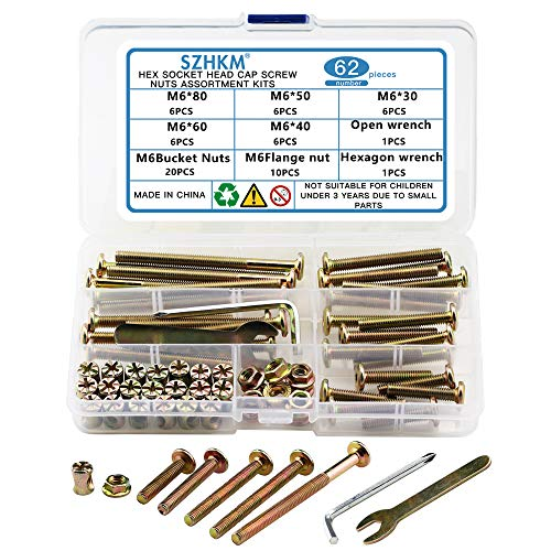SZHKM 62PCS Furniture Bolts and Nuts, Crib Screws Hardware Replacement...