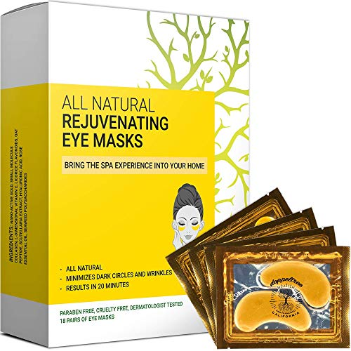 Under Eye Patches & Masks (18 Pairs) - All Natural Anti Aging Treatment for...