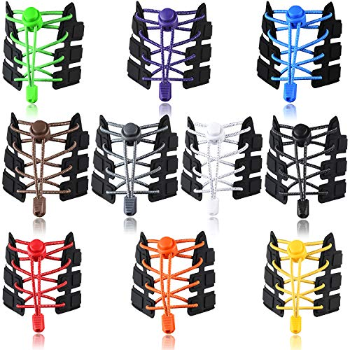 UPINS 10 Pairs Elastic Shoe Laces No Tie Adjustable Tieless Rubber...