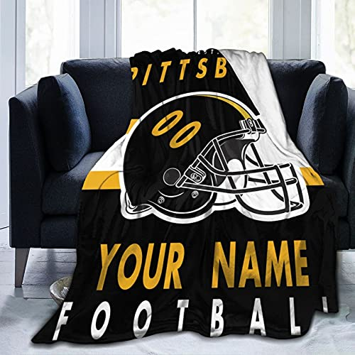 Mcllan Custom Personalized Football Style Throw Blanket Printed with Any...