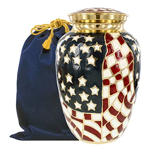 Patriotic Large Adult Urn for Human Ashes - for Veterans First Responders...