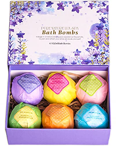 LuxSpa Bath Bombs Gift Set - The Best Ultra Bubble Fizzies with Natural...