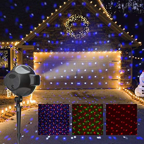 PEIDUO LED Party Projector Plug Powered with RGBW Spots Snow Fall, Multi...