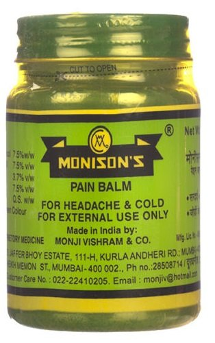 Monisons Ayurvedic Pain Balm For Headache, Joint Pain Cold Relief 100 gms...