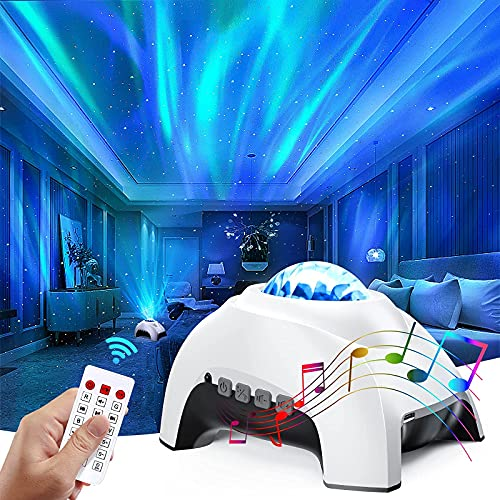 Colorful Aurora Projector & White Noise Night Light,Northern Lights Star...