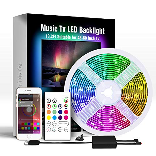 Miume 13.2Ft Music LED Strip Lights for 48-60 inch TV, RGB USB Powered TV...
