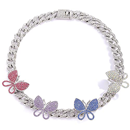 Apzzic 8mm Iced Out Chain Butterfly Cuban Link Choker Necklace Cubic...
