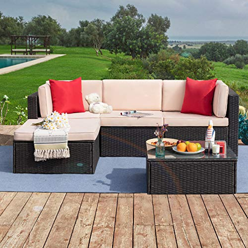 Tuoze 5 Pieces Patio Furniture Sectional Outdoor PE Rattan Wicker Lawn...