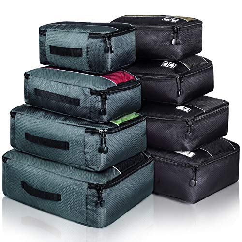 8 Set Packing Cubes, Travel Luggage Bags Organizers Mixed Color Set (Black...