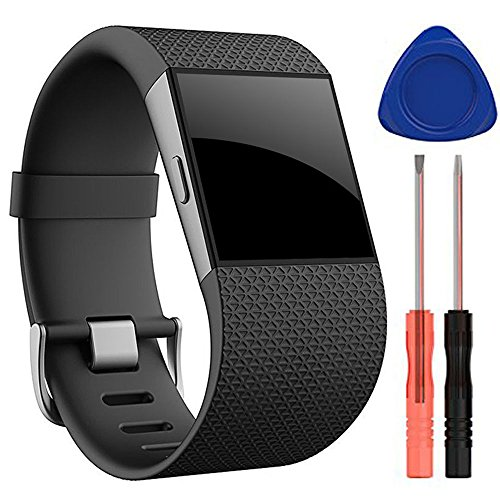 QGHXO Band for Fitbit Surge, Soft Silicone Adjustable Replacement Strap...
